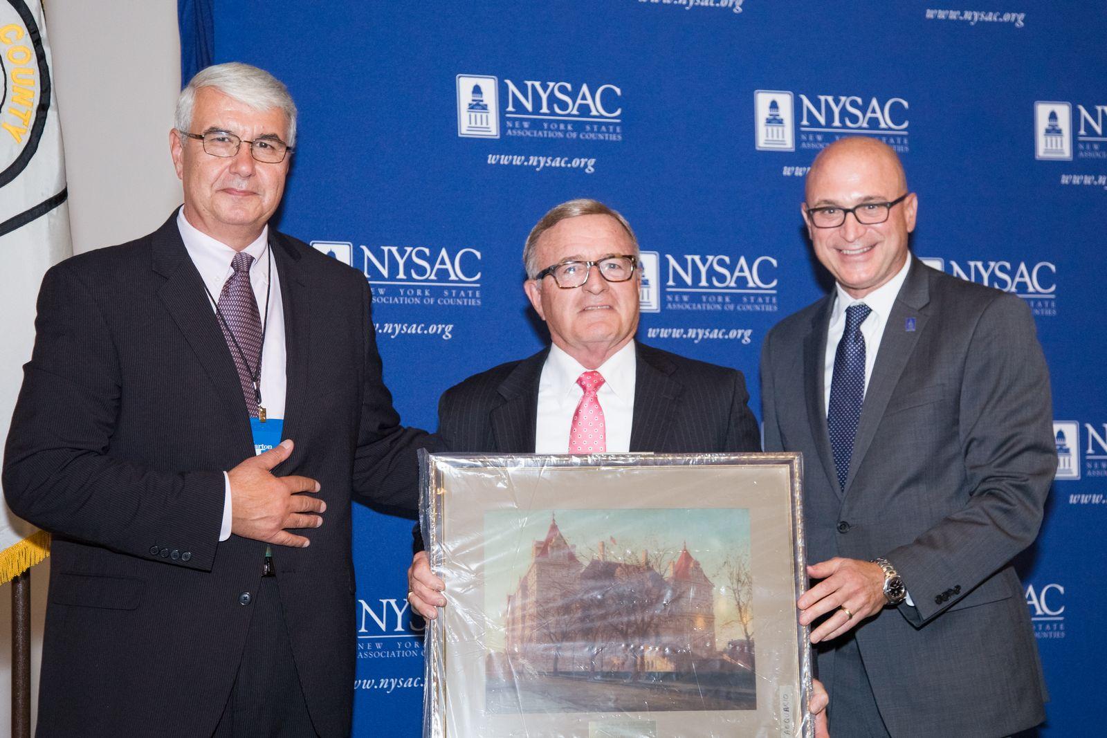 Senator DeFrancisco with NYSAC President Bill Cherry and Exec. Director Stephen Acquario.